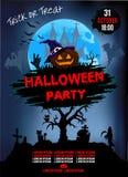Einladung an eine Halloween-Partei, Kürbis, Illustration, Plakat stock abbildung