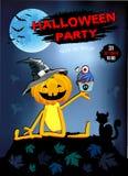 Einladung an eine Halloween-Partei, lustiger Kürbis in einem Hut mit Kuchen stock abbildung