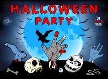 Einladung an eine Halloween-Partei, Zombie, Schädel, Illustration, Plakat, Grußkarte Stockfoto