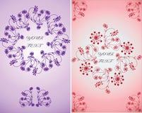 Einladung für Feier Vector Blumenverzierung in den lila und rosa Hintergründen lizenzfreie abbildung