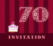 Einladung, 70 Jahre alt, Himbeertorte, Vektor, englisch Stockfotos