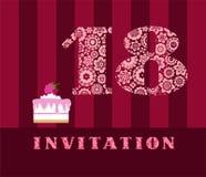 Einladung, 18 Jahre alt, Kuchen, Farbe, Vektor Lizenzfreie Stockfotos