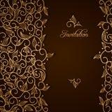 Einladung mit Goldspitze-Blumenverzierung Stockbilder