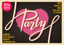 Einladung an Partei, Fahne, Flieger, Karte, Plakatdesign mit handgeschriebenem Text Stockfotos