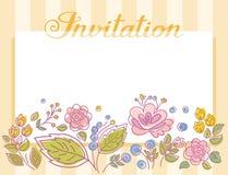 Einladung, Rahmen mit Blumen, gelbe Streifen, Vektor Stockfoto