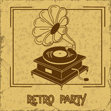 Einladung an Retro- Partei mit Grammophon Stockfoto