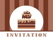 Einladung, Schokoladenkuchen, Braun, gestreift, Vektor Lizenzfreie Stockfotos