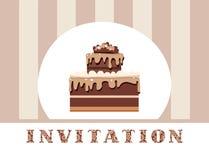 Einladung, Schokoladenkuchen, Grau, gestreift, Vektor Stockfotografie