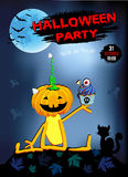 Einladung zu einem Partei Halloween-Kürbisspaß mit Kuchen, blauer Hintergrund Lizenzfreie Stockfotografie