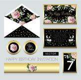 Einladung zur Geburtstagsfeier, zu einem Umschlag, Zimmernummer zu für eine Tabelle und zu anderen Design mit rosa Rosen vektor abbildung