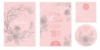 Einladungen, danke, rsvp Schablonenkarten mit Blumenrosen vektor abbildung