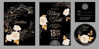 Einladungen, danke, rsvp Schablonenkarten mit Blumenrosen lizenzfreie abbildung