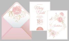 Einladungen, danken Sie Ihnen, rsvp Schablonenkarten und Abdeckung mit Blumenpfingstrosen vektor abbildung
