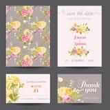 Einladungs-Blumen-Karten-Satz Stockfoto