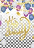 Einladungs-Designkonfettis der alles- Gute zum Geburtstagbeschriftung Hand gezeichnete Stockbilder