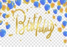 Einladungs-Designkonfettis der alles- Gute zum Geburtstagbeschriftung Hand gezeichnete Lizenzfreies Stockbild