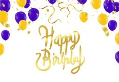Einladungs-Designkonfettis der alles- Gute zum Geburtstagbeschriftung Hand gezeichnete Stockfotografie