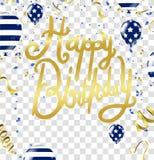Einladungs-Designkonfettis der alles- Gute zum Geburtstagbeschriftung Hand gezeichnete Lizenzfreie Stockfotografie