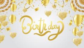 Einladungs-Designkonfettis der alles- Gute zum Geburtstagbeschriftung Hand gezeichnete Lizenzfreie Stockfotos