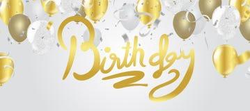 Einladungs-Designkonfettis der alles- Gute zum Geburtstagbeschriftung Hand gezeichnete Stockfotos
