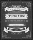Einladungs-Kartenschablone des Weinlesevektors schöne mit eleganten Handzeichnungsvektorrahmen Stockbilder
