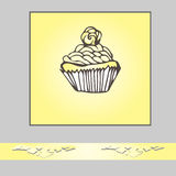Einladungs- oder Grußkartenschablone mit Hand gezeichnetem Gekritzel cupc Stockbild