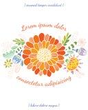 Einladungsbrautduschkarte mit Blumenschablone Lizenzfreie Stockfotos