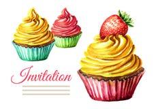 Einladungsgeburtstags- oder -Hochzeitskarte Kuchen Gezeichnete Illustration des Aquarells Hand lokalisiert auf weißem Hintergrund Stockfotografie