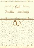 Einladungsillustration der goldenen Hochzeit vektor abbildung