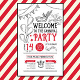 Einladungskarnevals-Parteiflieger Typografie und Design Lizenzfreie Stockfotos