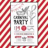 Einladungskarnevals-Parteiflieger Typografie und Design Lizenzfreies Stockbild