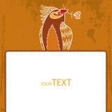 Einladungskarte _1 Dekorativer Vogel mit weißem Herzen in seinem Schnabel Stockfotos