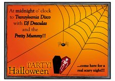 Einladungskarte für Halloween-Partei an der Disco vektor abbildung