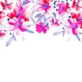Einladungskarte für Hochzeitstag mit Aquarellblumen Lizenzfreies Stockfoto