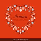 Einladungskarte mit Blumen-Kranz. Stockfoto