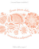 Einladungskarte mit Blumenschablone Stockbild