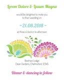 Einladungskarte mit Blumenschablone Stockfotos