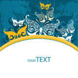 Einladungskarte mit dekorativem Schmetterling Stockfoto