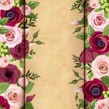 Einladungskarte mit den roten und rosa Rosen, den lisianthuses und Anemone blüht Stockfotografie