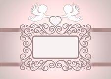 Einladungskarte mit Engeln Stockbilder