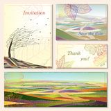 Einladungskarte mit Herbstlandschaften. Lizenzfreies Stockbild