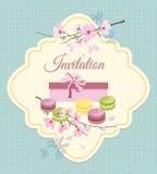 Einladungskarte zur Teeparty mit Blumen und Stockbilder