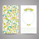 Einladungskarten mit abstrakten Blumen Lizenzfreie Stockbilder
