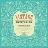 Einladungskartendesign-Weinleseschablone Lizenzfreie Stockfotos