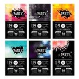 Einladungsparteiflieger typographie Designsatz Lizenzfreie Stockbilder