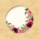 Einladungspergamentkarte mit den roten und rosa Rosen Vektor EPS-10 Stockbild