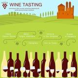 Einladungsschablone für Weinprüfung Stockfotografie