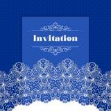 Einladungsschablone mit Spitzensaum Stockbilder