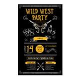 Einladungswilder Westparteiflieger Typografie und Design Lizenzfreie Stockbilder