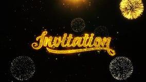 Einladungswunsch-Grußkarte, Einladung, Feierfeuerwerk schlang sich vektor abbildung